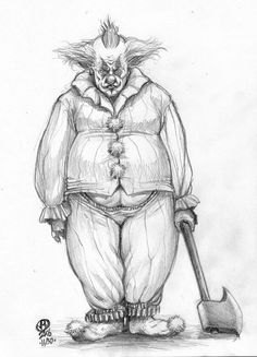 i dont know y i searched creepy clowns but i did AND I FOUND THIS BEAUTY. WHOEVER DREW THIS IS AWSOME