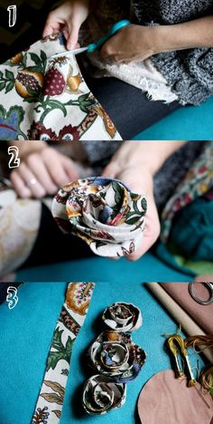 fabric flowers for vases in craft area