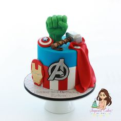 Avengers cake, by 'Inspired Cakes by Amy' Avengers Birthday Cakes, Superhero Birthday Cake, 3rd Birthday Cakes, Superhero Party, Bolo Angry Birds, Avengers Party Decorations, Marvel Cake, Avenger Cake, Carousel Cake
