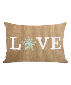Look at this #zulilyfind! Brown 'Love' Snowflake Pillow #zulilyfinds