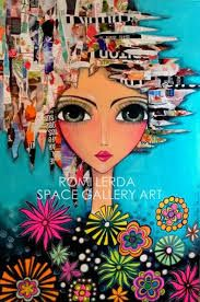 Imagen relacionada Kunstjournal Inspiration, Art Journal Inspiration, Mixed Media Painting, Mixed Media Canvas, Fantasy Paintings, Arte Popular, Whimsical Art, Art Plastique, Fabric Painting