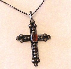 Vintage Sterling Silver Cross with Carnelian Stone Pendant Classic Gothic Christian Goth Fantasy Unisex Jewelry   Low Shipping! 10035