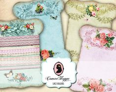 LACE HOLDERS Digital Collage Sheet Shabby chic No by cameoshoppe, $3.80