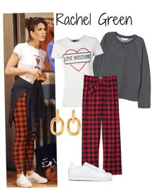 Discover outfit ideas for Friends Anniversary made with the shoplook outfit maker. How to wear ideas for Superstar Foundation Sneaker and Sweatshirt with Dolman Sleeves Estilo Rachel Green, Rachel Green Outfits, Red Plaid Pants, Plaid Pants Outfit, Really Cute Outfits, Simple Outfits, Friend Outfits, Girl Outfits, Retro Outfits