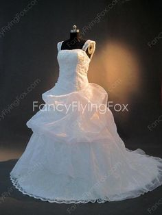 fancyflyingfox.com Offers High Quality Organza Double Straps Plus Size Wedding Dresses With Rosette ,Priced At Only US$236.00 (Free Shipping)