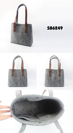 Felt Tote Bag with Leather Handle Specifications: material: polyester felt+pu bag size: 43*12*31cm custom logo & color are welcomed with heavy-duty handle and inner/outer pockets for phone/cards/accessories www.ideagroupigm.com