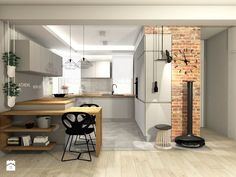 kuchnia Kosakowo - Średnia otwarta kuchnia w kształcie litery u z wyspą, styl industrialny - zdjęcie od MOCHO. studio Monika Machowska