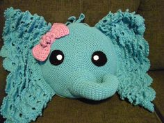 Crochet Elephant Pillow/Nursery/Unique Gift by KnotSoWiney on Etsy