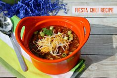 Try this delicious Fiesta Chili Recipe - it's perfect for the slow cooker #Chili #KraftRecipes