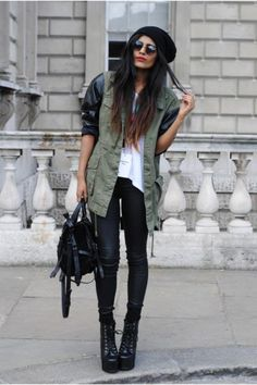 layer leather jacket under army vest?