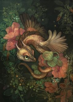 Fantasy Creatures, Mythical Creatures, Cute Dragon Drawing, Cute Dragons, Fantasy Illustration, Dragon Art, Pretty Art, Flower Art, Fantasy Art