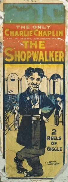 Charlie Chaplin...The Shopwalker (19??). I researched this and Chaplin never made a movie or short with this title, Maybe it's an unknown aka for the 1916 two reel short, The Floorwalker... Anybody know?