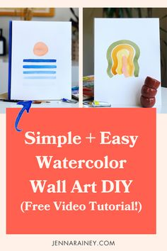 Simple and easy watercolor wall art diy in a free video tutorial! In this tutorial, I show you step-by-step how to paint 2 simple modern pieces—an abstract sunset and a wavy rainbow. Pencil sign the bottom, stick 'em in a frame, and display your beautiful art in your home! Step By Step Watercolor, Easy Watercolor, Watercolor Design, Happy Little Trees, Awkward Funny, Rainbow Painting, Modern Art Paintings, Watercolor Techniques, Diy Wall Art