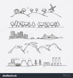 Vector Illustration Of Landscapes. Doodles Hand-Drawn Style. - 326044061 : Shutterstock