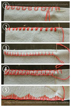 DIY 5 Blanket Stitch Variations and Tutorials from coletterie here. I post a lot of DIYs that use blanket stitch from clothing using fleece to embroidered felt. • Spaced Blanket Stitch with Running...