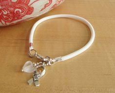 White Awareness Bracelet / Anklet  Lung Cancer  MS by Twenty2Roses, $5.00