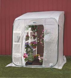 HotHouse by FlowerHouse 6' x 6' x 6.5' With only 3 side to this model it snugs up perfectly to any standard size door of your house, shed, or garage. The slanted roof assures that precipitation flows away from your house.