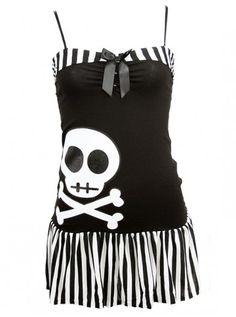 "Women's ""Miss Mandy Skull"" Dress by Jessica Louise (Black) #InkedShop #dress #skull #style #stripe #fashion"
