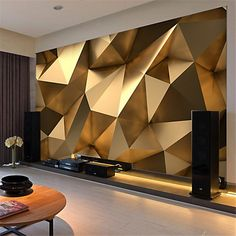 Custom photo wallpaper stereo abstract space golden geometry mural modern art creative living room hotel study wall paper 3 d free widescreen desktop wallpaper free widescreen wallpaper from price dhgate com
