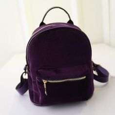 Cheap velvet backpack, Buy Quality backpack fashion directly from China fashion backpack Suppliers: Fashion Women Velvet Backpacks Pleuche Casual Style Girls Mochila Zipper Bags Mini Backpack, Travel Backpack, Leather Backpack, Fashion Backpack, Backpack Bags, Backpack Keychains, Small Backpack, Gris Violet, Women's Handbags