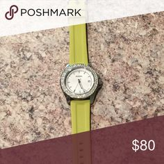 Fossil Retro Traveler Lime silicone watch Excellent used condition Fossil watch! Lime green silicone band. Crystals around face. All metal is stainless steel. No visible scratches. Needs new battery, otherwise in perfect condition. Fossil Accessories Watches