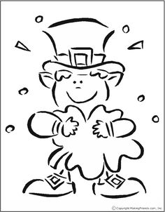 St Pats Shamrock Coloring Page- even as an adult i want to color this! Too cute! :) I can't wait until L can color so I can too! lol!