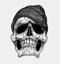 Skull With a Beanie - Illustration by Carl Bédard.