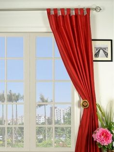 9 Unique Red Tab Top Curtains has different kinds picture that relevant to windows curtains. Find out the most recently released images of red tab top… Silk Curtains, Tab Top Curtains, Elegant Curtains, Grommet Curtains, White Curtains, Window Curtains, Bedroom Curtains, Curtains Pictures, Wall Design