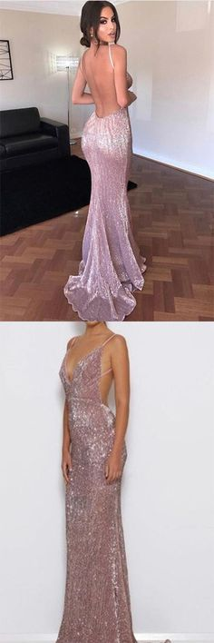 Elegant #Mermaid Pink Simple Sexy #SpaghettiStraps #Sequin #VNeck Backless Prom Dresses PH611 #mermaid #elegant #simple #promdress #backless #pink #vneck #sexy