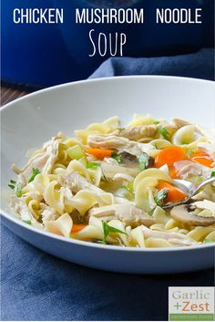 Chicken mushroom noodle soup is chock full of vegetables, tender chicken breast and al-dente egg noodles. Quintessential comfort food, made in an hour.