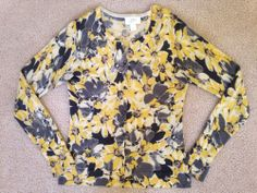 Ann Taylor Floral Cardigan XS Button Up Long Sleeve Yellow Black LOFT Sweater #AnnTaylorLOFT #Cardigan