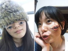 Japanese art student Chooo-San, aged 19, uses only acrylic paint and her incredible talent to transform herself into a mutant or cyborg. Multiple mouths, six eyes or even batteries protruding from her forearms – these are just a few examples of what she can do with a human body.