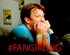 FANGIRLING!! Only Nathan Fillion could pull that look off...HAHAHAHA