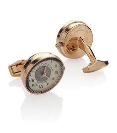 fully functioning quartz watch incorporated into a cufflink is a signature element of the Tateossian brand