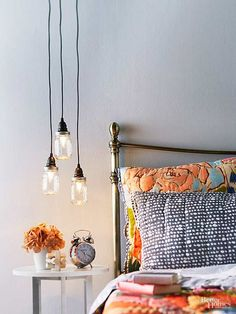 Canning jars aren't just for the kitchen! Brighten your bedside with a series of pendant lights made from canning jars. This easy DIY lighting project requires minimal skills and can be crafted in an afternoon.