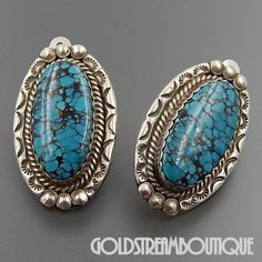 NATIVE AMERICAN NAVAJO SIGNED NE STERLING SILVER OVAL SPIDERWEB TURQUOISE STAMPED CLIP EARRINGS