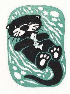 Otter - Letterpress mini print