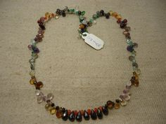 """Natural Multi Stone Multi Shape Faceted 17"""" Beads Fancy Necklace, 117 Cts…"""