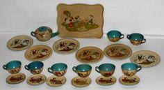 "Scarce ""Complete"" DISNEY1930's""Disney Character""Tin 23 Piece Tea Set by Ohio Art   eBay"