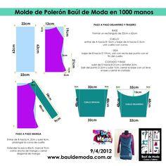 Moldería Polerón: realizado x Baúl de Moda en 1000 manos, tv pública