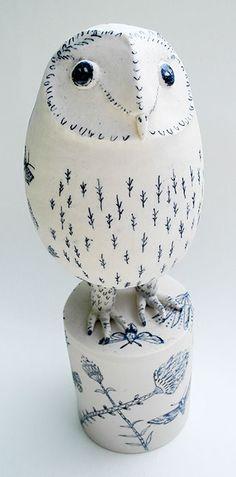 Porcelain hand-decorated owl by Georgina Warne