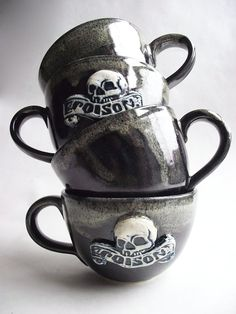 Large Skull and Poison Coffee / Tea Cup by jpeachtree on Etsy