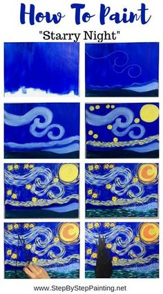 This is a simplified, easy version of the famous Starry Night by Vincent Van Gogh. Learn how to paint this with simple step by step directions. Great for kids and the absolute beginner acrylic painter! art for kids How To Paint Starry Night Cute Canvas Paintings, Small Canvas Art, Easy Canvas Painting, Mini Canvas Art, Easy Paintings, Diy Painting, Pour Painting, Painting Styles, Van Gogh Paintings