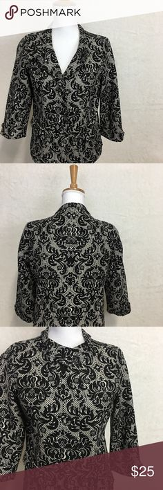 Talbots Blazer Size 10 Petite Black White Pattern Beautiful Talbots Blazer Black an White with Pattern 3/4 sleeves Great Condition Talbots Jackets & Coats Blazers