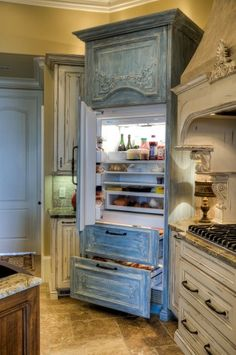 Custom Kitchen - traditional - kitchen - atlanta - by Simply Southern Interiors LLC Kitchen Design, Kitchen Decor, Kitchen Armoire, Fridge Decor, Kitchen Cabinets, Kitchen Appliances, Muebles Shabby Chic, Traditional Kitchen, My New Room