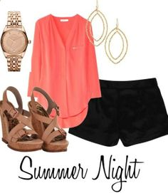 How amazing is this coral top?! Love the whole Polyvore outfit - especially the brown wedges paired with the black shorts. Cant wait for Summer Nights!