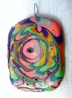 DeCicco -vUnisex Colorful Green Polymer Clay Pendant OOAK by FabulousDesign, $9.99 made by Donna DeCicco