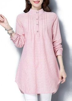 Stand Collar Button Up Striped Pink Tunic Blouse Stylish Dresses For Girls, Stylish Dress Designs, Designs For Dresses, Casual Dresses, Hijab Casual, Frock Fashion, Hijab Fashion, Fashion Outfits, Iranian Women Fashion