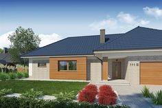 Projekt Domena 111 B 205,85 m2 - koszt budowy - EXTRADOM Residential Building Plan, Cottage Plan, Modern House Design, Bungalow, Home Goods, House Plans, Garage Doors, Sweet Home, Shed