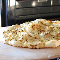 Potato Rosemary Pizza with Lemon Garlic Sauce